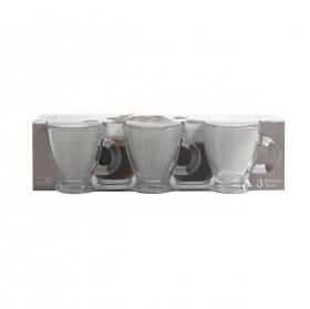 Set 3  Tazas café de Vidrio HOME STYLE Roma 3cl - Transparente