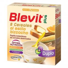 Papilla infantil desde 5 meses de 8 cereales al estilo bizcocho Blevit plus 600 g.