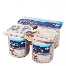 Yogur griego de stracciatella Carrefour pack de 4 unidades de 125 g.