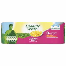 Maíz ligero contenido reducido de sal Gigante Verde pack de 3 unidades de 140 g.