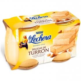 Postre delicias de turrón Nestlé La Lechera pack de 2 unidades de 125 g.