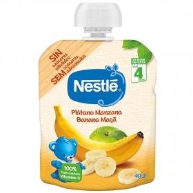 Preparado de plátano y manzana desde 4 meses Nestlé sin gluten bolsita de 90 g.