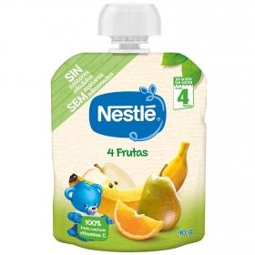 Preparado 4 frutas desde 4 meses Nestlé sin gluten bolsita de 90 g.
