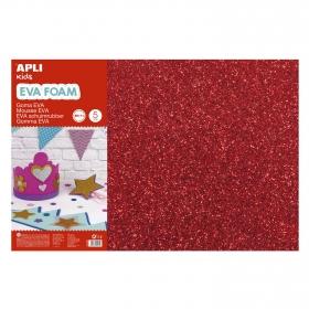 Goma Eva con Purpurina en Color Rojo