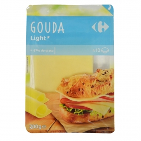 Queso en lonchas Gouda Light Carrefour 200 g.