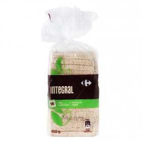 Pan integral sin corteza Carrefour 450 g.