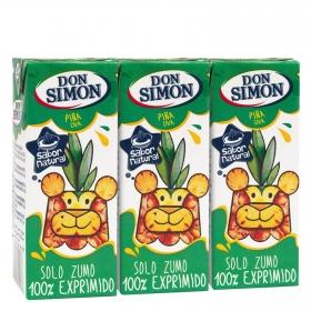 Zumo de piña y uva Don Simón exprimido pack de 3 briks de 20 cl.