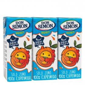 Zumo de naranja Don Simón exprimido pack de 3 briks de 20 cl.