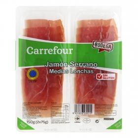 Jamón curado medias lonchas Carrefour sin gluten 150 g.