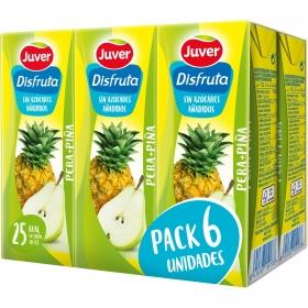 Zumo de pera y piña Juver-Disfruta sin azúcar añadido pack de 6 briks de 20 cl.
