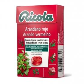 Caramelo sabor arándano rojo sin azúcar Ricola 50 g.