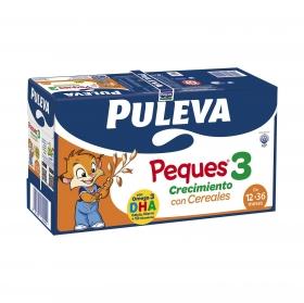 Leche infantil de crecimiento desde 12 meses con cereales Puleva Peques 3 pack de 8 briks de 1 l.