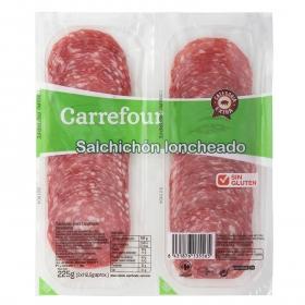Salchichón extra lonchas Carrefour sin gluten pack de 2 unidades de 112,5 g.