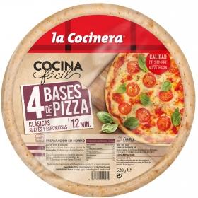 Base de pizza La Cocinera pack de 4 unidades de 130 g.