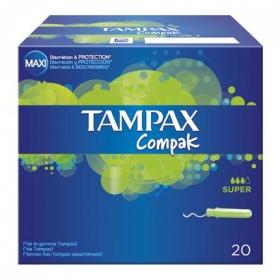 Tampones con aplicador Super Tampax caja de 20 uds.