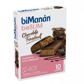 Barritas sustitutive chocolate negro fondant Bimanán 8 ud.