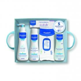 Canastilla bebé azul 5 productos Mustela 1 ud.
