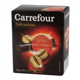 Café soluble descafeinado en sobres Carrefour 25 unidades de 2 g.