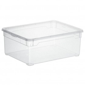 Caja con Tapa de Plástico Basic CARREFOUR HOME 10 Litros - Transparente