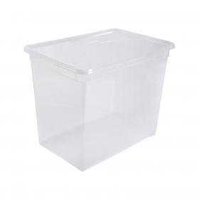 Caja con Tapa de Plástico Basic CARREFOUR HOME 70 Litros - Transparente
