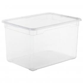 Caja con Tapa de Plástico Basic CARREFOUR HOME 46 Litros - Transparente