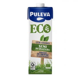 Leche semidesnatada ecológica Puleva brik 1 l.