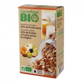Cereales de frutas y frutos secos ecológicos Muesli Carrefour Bio 500 g.