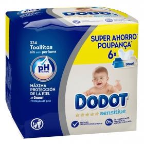 Toallitas para bebé Dodot Sensitive pack de 6 paquetes de 54 ud.