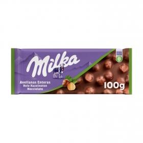 Chocolate con leche relleno de avellanas enteras Milka 100 g.