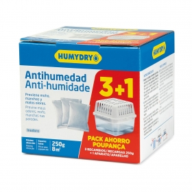 Antihumedad recambios y aparato Humydry pack de 3 unidades de 250 g.