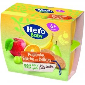 Pack Cuatro Tarrinas Hero Baby Multifrutas con Galletas