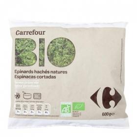 Espinacas cortada ecológicas Carrefour Bio 600 g.