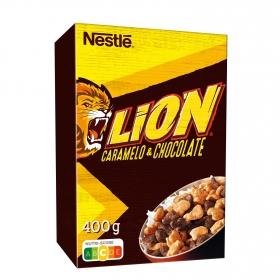 Cereales integrales con caramelo y chocolate Lion Nestlé 400 g.