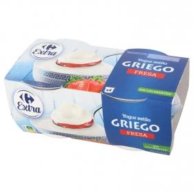 Yogur griego bicapa de fresa Carrefour pack de 4 unidades de 125 g.