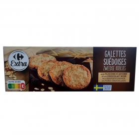 Galletas con avena y chocolate negro Carrefour 150 g.