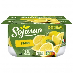 Preparado de soja con limón Sojasun sin lactosa pack de 4 unidades de 100 g.