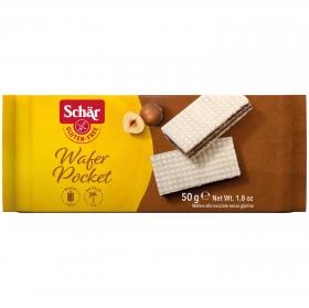 Galletas de barquillo rellenas de avellana Schär sin gluten 50 g.