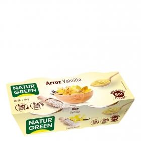 Postre de arroz y vainilla ecológico Naturgreen sin gluten y sin lactosa pack de 2 unidades de 125 g.