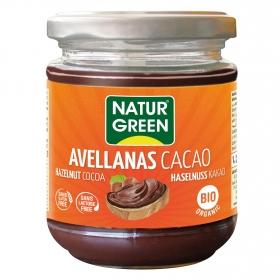 Crema de cacao con avellanas ecológica Naturgreen  sin gluten y sin lactosa 200 g.
