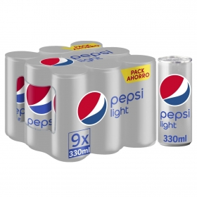 Refresco de cola Pepsi light pack de 9 latas de 33 cl.