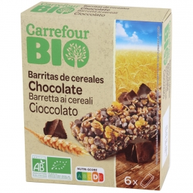 Barritas de cereales con chocolate ecológicas Carrefour Bio 125 g.