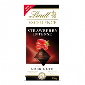 Chocolate negro intenso con fresa Lindt Excellence 100 g.