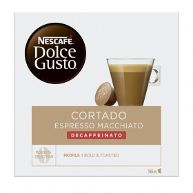 Café cortado espresso macchiato descafeinado en cápsulas Nescafé Dolce Gusto 16 unidades de 6,2 g.