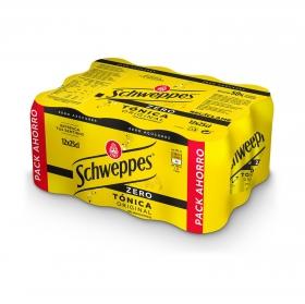 Tónica Schweppes zero calorías pack de 12 latas de 25 cl.