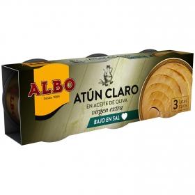 Atún claro en aceite de oliva virgen extra bajo en sal Albo pack de 3 unidades de 54 g.