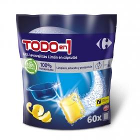 Lavavajillas Todo en 1 aroma limón en cápsulas Carrefour 60 ud.