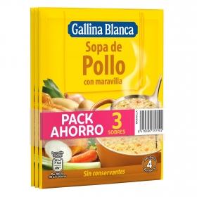 Sopa de pollo con Maravilla Gallina Blanca pack de 3 sobres de 86 g.