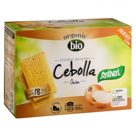 Tostadas ligeras de cebolla ecológicas Santiveri sin gluten 100 g.