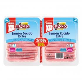 Jamón cocido bajo en grasa El Pozo  sin gluten pack de 2 unidades de 180 g.