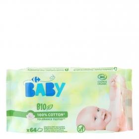 Toallitas para bebé sin perfume ecológicas Carrefour Bio 64 ud.